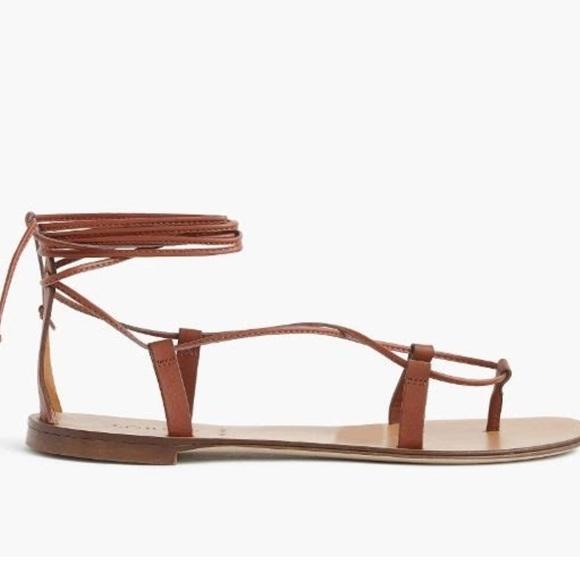 J Crew Leather Lace Up Sandals